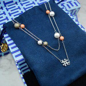 Tory Burch Zircon Logo Pearl Multiple Necklace